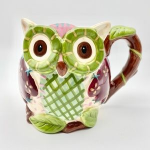 Pier One Imports Olli The Owl Coffee Mug Hand Painted Dolomite 3D 20 oz Hoot